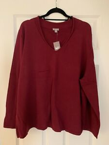 4X NWT J.Jill  Womens LS Pullover V-Neck Sweater Cotton/Poly Stretch Maroon
