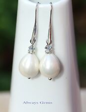 Handmade with White Genuine Shell Pearl and Swarovski Crystals teardrop Earrings