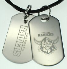 CANBERRA RAIDERS NRL LOGO MENS DOUBLE DOG TAG S/S LEATHER NECKLACE JEWELLERY