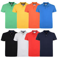 ESPRIT New Men's Cotton Pique Polo Shirt Causal Plain Blue Red White Yellow Top