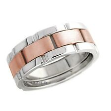 TWO TONE GOLD MENS WEDDING BANDS, 14K WHITE & ROSE GOLD MENS WEDDING RINGS 8MM