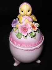 Napcoware  Egg Trinket Box With  Chick And Flowers On Top