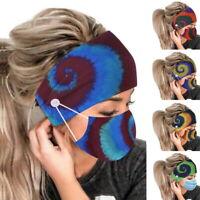 Frauen Haarband+Maske Stirnbänder Knopf Stoff Zweischichtiges breites Stirnband!
