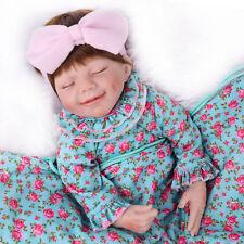 "22"" Reborn Girl Dolls Baby  Silicone Vinyl Newborn Handmade Sleeping Doll Gift"