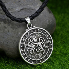 Viking Horse Rune Warrior  Pewter Pendant Necklace Wholesale Jewelry