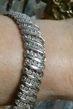 ⭐WOW NEW STERLING SILVER 40 ROW 2 CARAT CT DIAMOND TENNIS COCKTAIL WIDE BRACELET