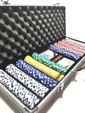500 Chips Casino Dice 2 Deck Poker Set Texas Hold'em With Aluminum Carry Case