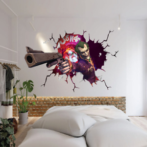 ARKHAM JOKER SMASH THROUGH WALL STICKER VINYL ART DECAL 3D EFFECT DECOR