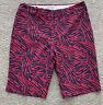 NWT $110 FAIRWAY & GREENE Pink Blue Zebra Women's Golf Bermuda Shorts SZ 6