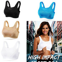 Black Full Cup Sports Bra High Impact Wireless Plus Size Ladies Running Gym