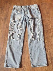 Ladies Size 14 Ripped Blue Denim Jeans Grunge Goth Punk Fashion Pants Denims