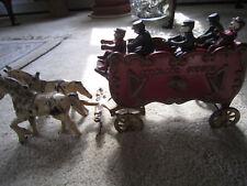 OVERLAND CIRCUS Cast Iron Band Wagon w (2) Horses & (5) Riders / TERRIFIC /