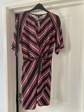 Ladies Lipsy Size 14 Striped Wrap Dress With Tie Detail