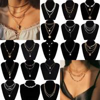 Fashion Women Boho Multi-layer Long Chain Pendant Pearl Choker Necklace Jewelry