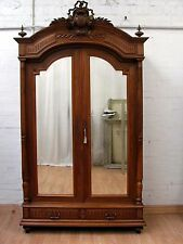 IMPOSING ANTIQUE FRENCH SOLID WALNUT ARMOIRE - C1880
