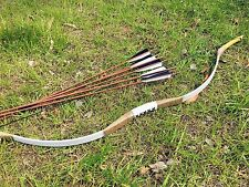 Traditional Archery longbow white pigskin recurve bow 20#-60# + 6 bamboo arrows
