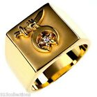 Shriner Mason Gold Plated April Clear Cubic Zirconia Stone Men Ring Size 13