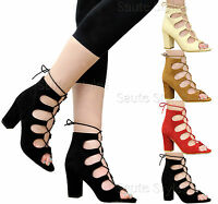 Ladies Women Lace Up High Heels Ankle Strap Strappy Gladiator Sandals Shoes Size