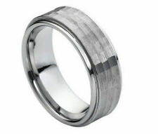 Free Engraving - Tungsten Carbide with Hammered Center Wedding Band Ring