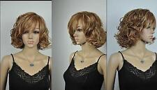 Femme Court Bouclé Blond/brun mixte perruques un chapeau libre de perruque