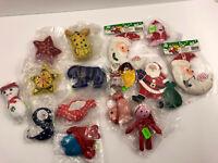 16 Vintage Christmas Ornaments Santa Claus Birds Turtle Star Cloth Folk Art LOT