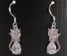 Clear drop/dangle crystal cat earrings 925 sterling silver hook teen/ladies gift