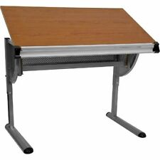 Adjustable Drawing and Drafting Table with Pewter Frame FLANANJN2433GG