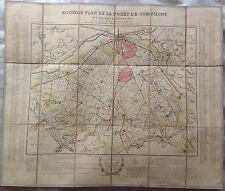 Nouveau plan de la forêt de Compiègne et de ses environs - carte entoilée 19e