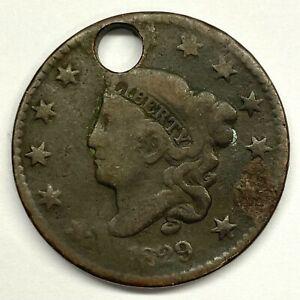 1829 1C Coronet Head Large Cent: Holed #1