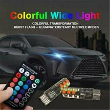 2Pcs T10 5050 W5W 6 SMD Remote Control RGB LED Car Dome Reading Lights Bulb Lamp