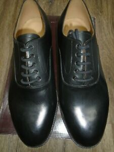 ROYAL NAVY MENS BLACK LEATHER OFFICERS SHOES SIZE 11L WIDE WIDTH FITTING NEW