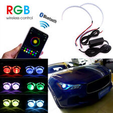 2PCS RGB Demon Eye Halo Ring LED Light Strips Kit BT For Headlight Projectors