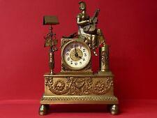 Antike dekorative Messing Tischuhr Pendule Gitarristin ca. 1860 Biedermeier