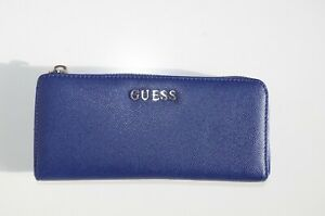 GUESS WOMENS WALLET PURSE ZIPPER NEW FAUX LEATHER SOLID LARGE BIG NEW BLUE 412