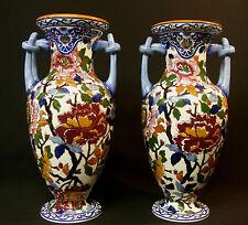 A GIEN faïence fine modèle PIVOINE jolie paire vases balustres 35cm poterie
