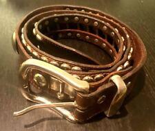 Vintage Italian Studded Leather Belt Fashion, Western, Heavy Metal, Biker sz 36