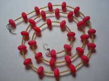 """Handmade Pink Rubber Beads With Gold Coloured ToHo Beads Spectacle Chain L28"""""""