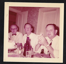 Vintage Photograph Three Men At Table Eating & Drinking - Man Making Funny Face