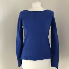 WHITE STUFF Jumper Size 10 Blue Lambswool Cashmere Blend Long Sleeve