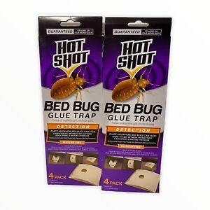 2 Hot Shot Bed Bug Glue Trap Detection System Bedbugs 2 Boxes Total 8 Traps