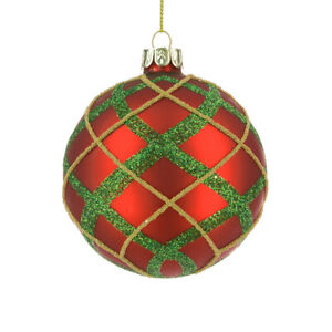 SALE - 7.5cm Red and Green Tartan Glass Round Christmas Tree Bauble