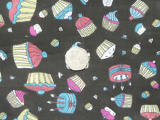 Novelty Funky light weight summer black cup cakes candles party print fabric