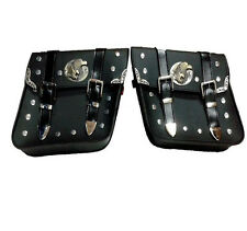 Universal fit Studded Faux Leather Motorcycle Panniers Saddlebags Luggage Bag