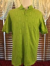 Men's Vguc Tommy Bahama 18 Golf L Large Green Ss Pineapple Polo