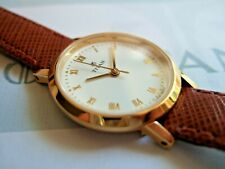 Women's Titan Executive Gold Plated 111YAB Watch! ICE White Dial! Brown Strap!