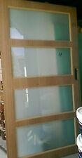 Maple look skin solid entrance front exterior door 2340 x 1200 x 40 frost glass