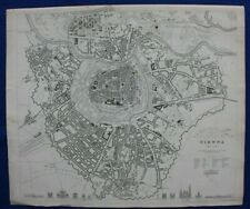 VIENNA CITY PLAN, WIEN, AUSTRIA, original antique map, SDUK, 1844