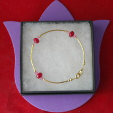 "Beautiful Gold Plated Bracelet With Faceted Ruby & Crystal Beads 8"" Inch Long"