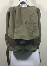 Case Logic Army Green Canvas Lifestyle Laptop Backpack Side Pockets Zipper Large