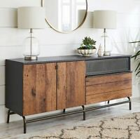 """TV Credenza 60"""" Stand Mid Century Modern Rustic Sideboard Buffet Black Vintage"""